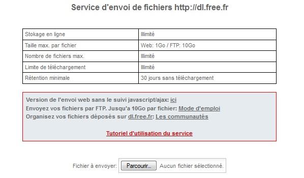 Service d'envoir de fichiers