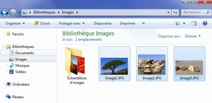 Un dossier ouvert sur Windows