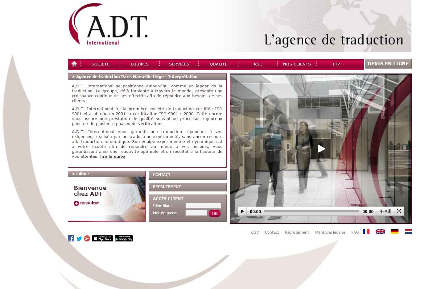 Page accueil site ADT International