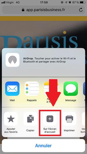 Capture d'écran pour ajouter un raccourci