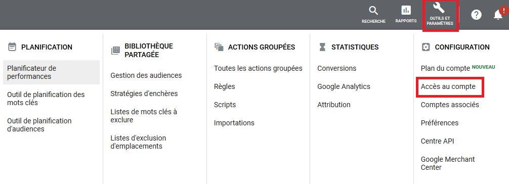Paramétrage Google Ads accès au compte