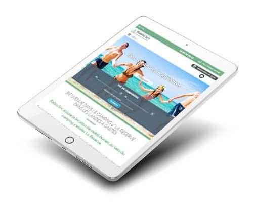 Le site internet Babou'loc sur tablette