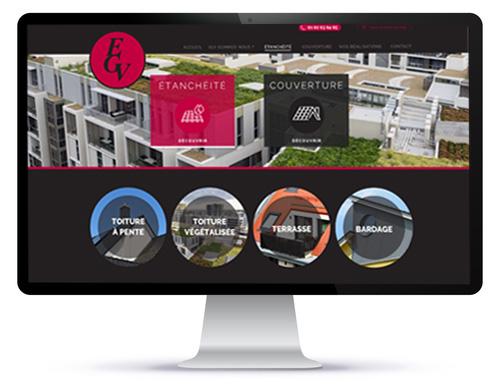 Mockup du site internet vitrine EGV Etanchéité sur ordinateur