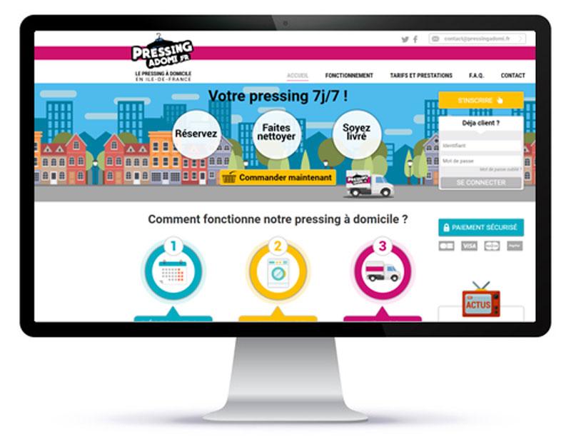 Mockup du site internet de pressing à domicile sur un écran d'ordinateur