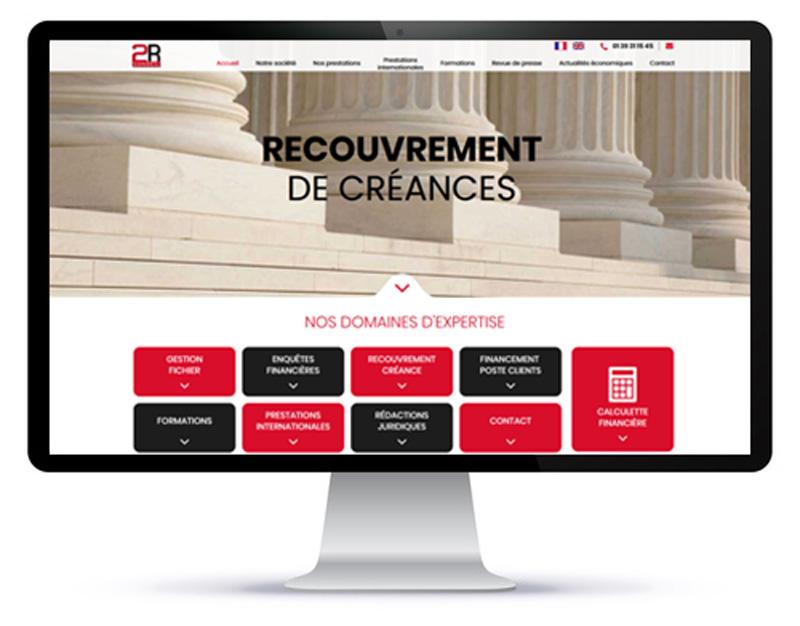 Mockup du site internet vitrine du cabinet de recouvrement 2Rconseil sur desktop