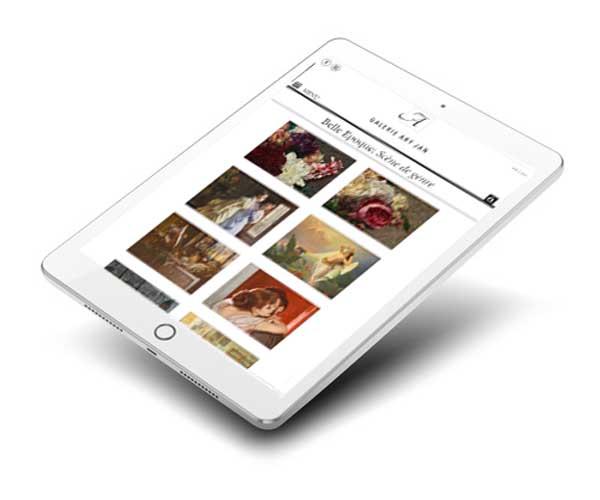 Mockup d'une galerie d'art en ligne sur tablette