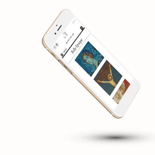 Mockup d'une galerie d'art en ligne sur téléphone mobile