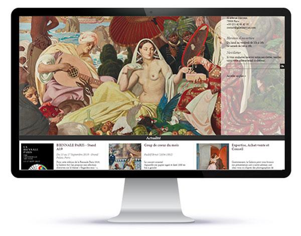 Mockup de la page d'accueil du site d'une galerie d'art