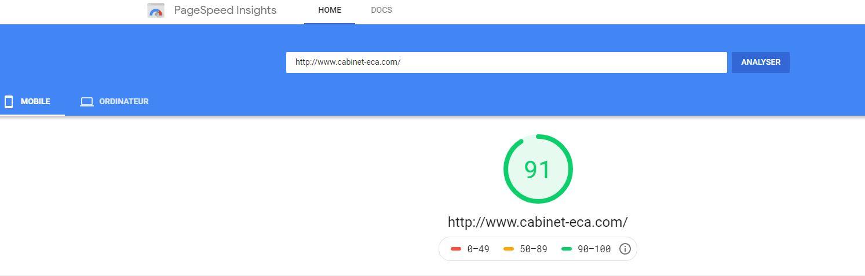 Capture d'écran du score de vitresse du site cabinet ECA sur mobile