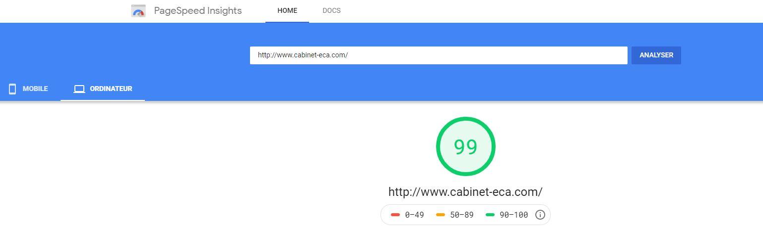 Capture d'écran du score de vitesse d'une site sur Google Speed Insight