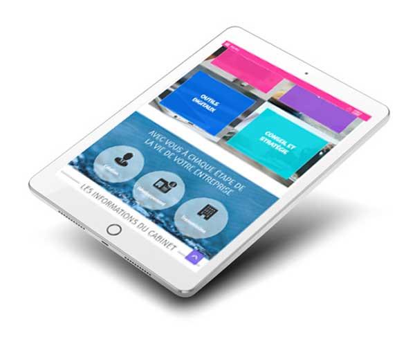 Mockup de la home page d'un site vitrine comptabilité en ligne
