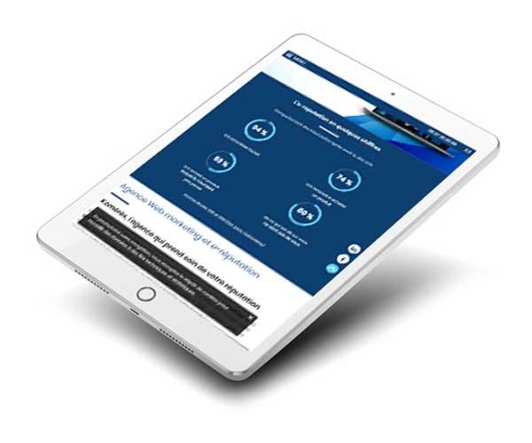 Mockup du site internet du agence web 95 sur tablette