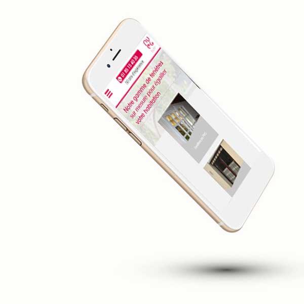Mockup mobile du site internet de pose de fenêtre, vitre, glace PVEG 95
