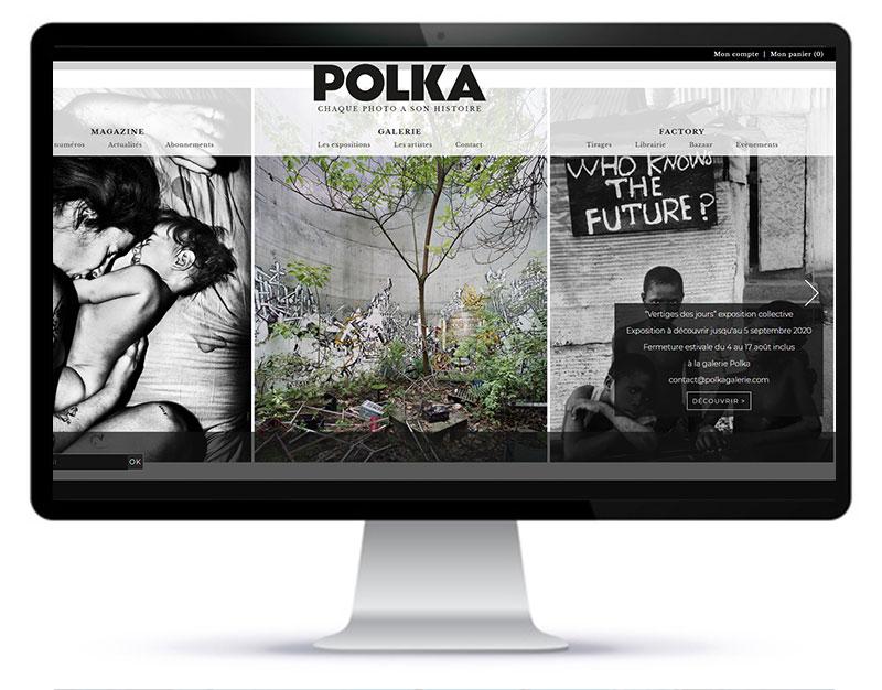 Page d'accueil ou page portail du site internet de la galerie d'art polka paris