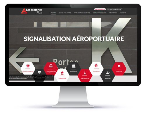 Mockup du site internet vitrine Stocksignes projets spécialiste signalétique