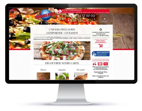 Mockup de la page d'accueil d'un site de pizzas en livraison ou à emporter