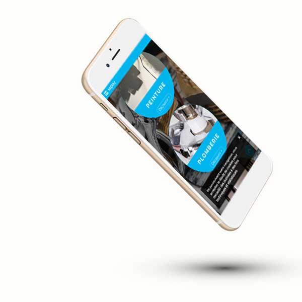 Mockup du site internet vitrine 95 sur smartphone