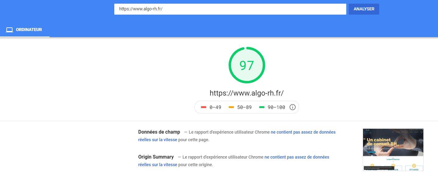 Google speed insight, outil d'analyse de la vitesse et de la performance d'un site web