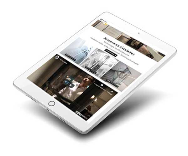 Mockup de site internet d'ascenseurs sur tablette