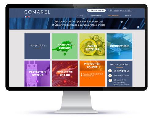Mockup de la refonte technique et graphique du site Comarel