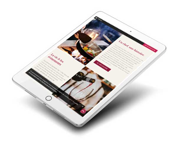 Mockup site internet restaurant sur Ipad et tablette