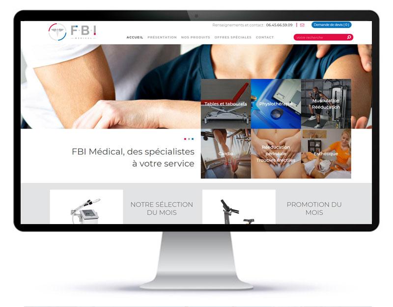 Image de réalisation du site internet vitrine de présentation d'équipements médicaux FBI Médical