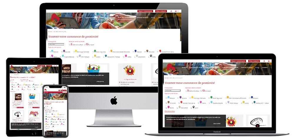 Conception graphique et développement web du site ecommerce ici mes commerces