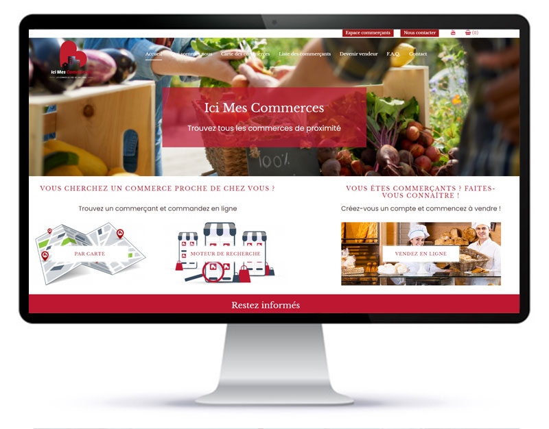 Page d'accueil de la plateforme Ici mes commerces