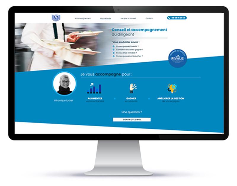 Mockup du site internet one page de VLConseil sur un écran d'ordinateur