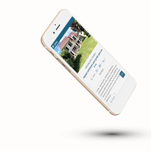 Création de site en responsive design et mockup du site internet Remora Immobilier sur Iphone