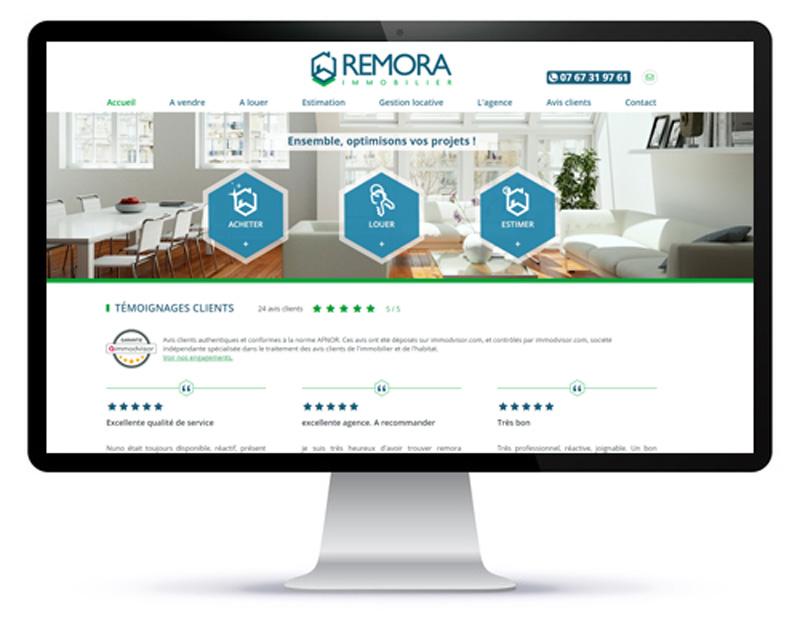 Mockup ordinateur du site internet d'une agence immobilière 100% digitale Remora Immobilier