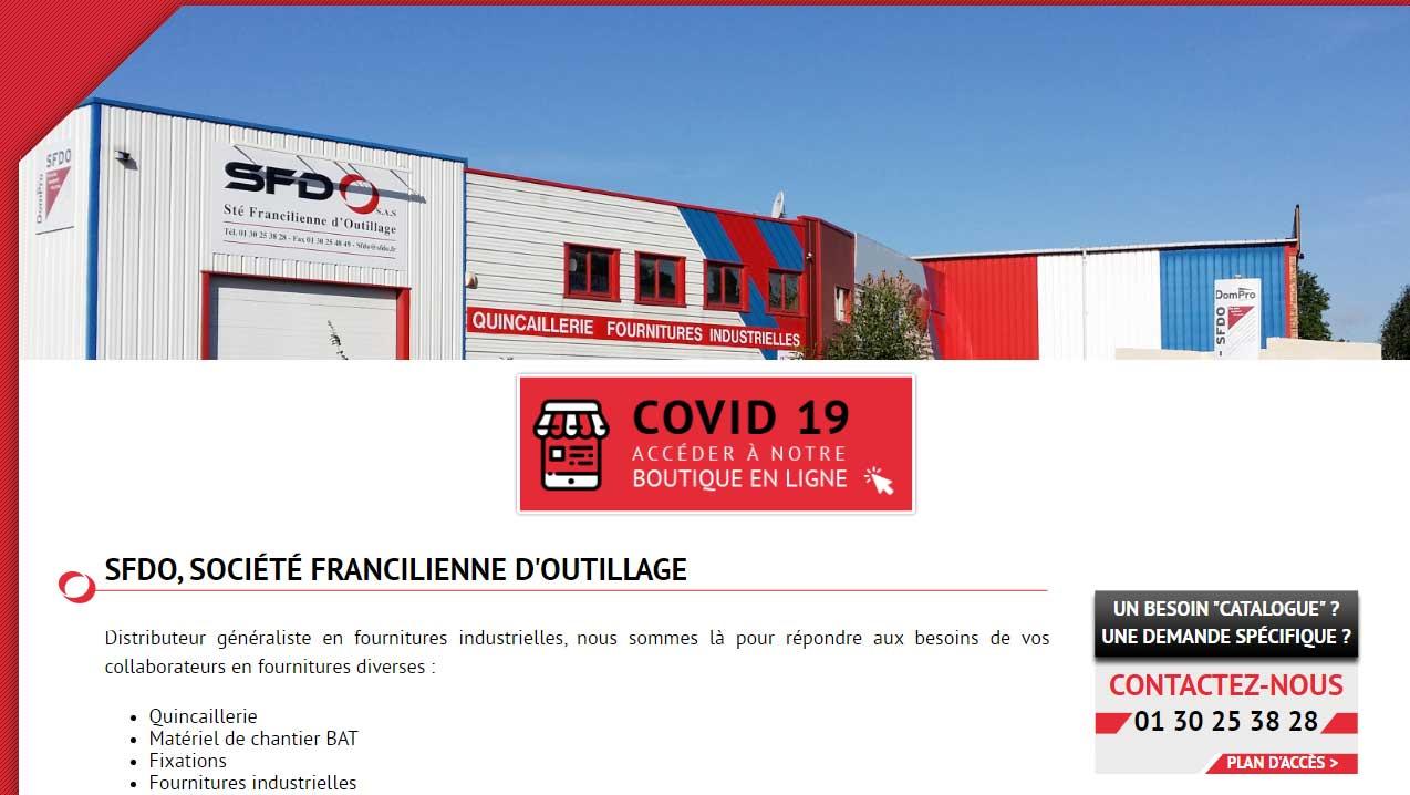 Capture d'écran de la page d'accueil d'un site internet vitrine